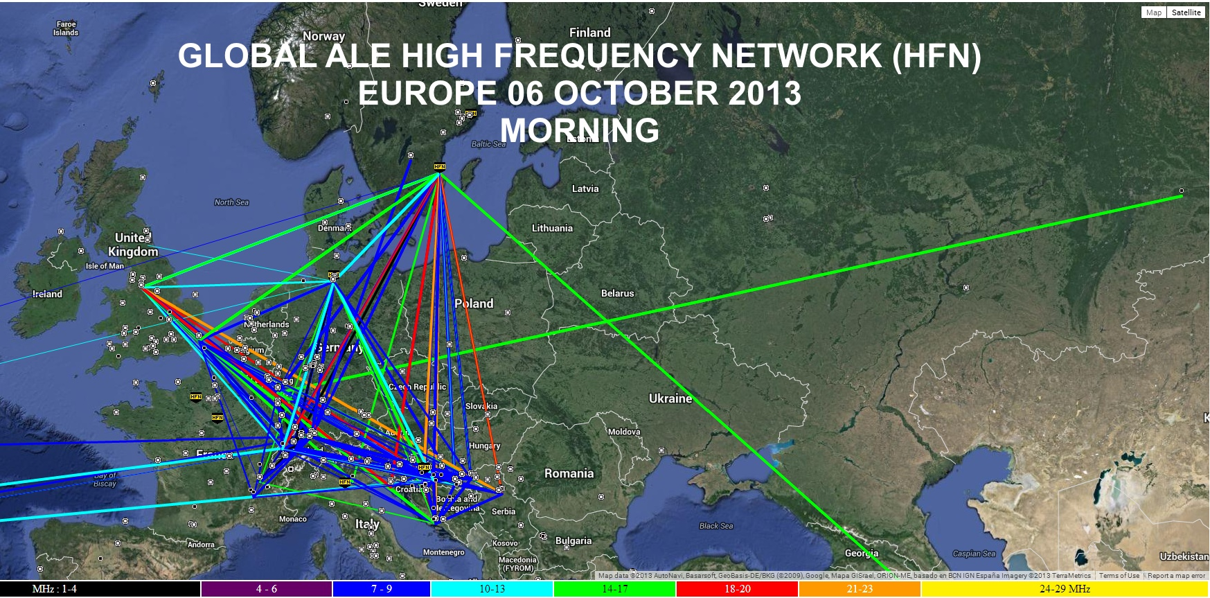 ZOOM: Map Snapshot of HFN Network (EUROPE) during HFIE2013 October