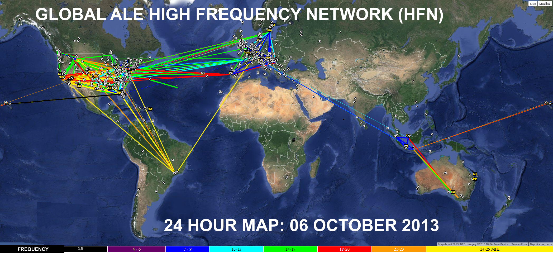 ZOOM: Global ALE High Frequency Network - HFIE2013 October - Snapshot of connectivity